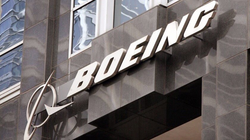 The Boeing logo hangs on the company's Chicago headquarters.