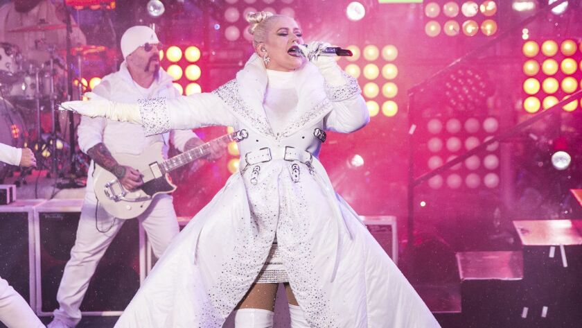Christina Aguilera performs at the 2018 New Year's Eve celebration in Times Square in New York City.
