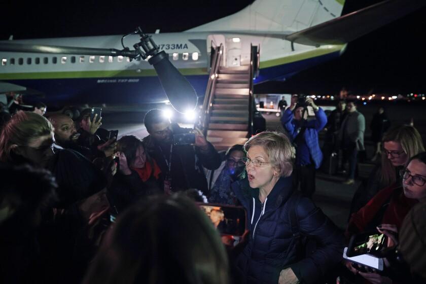 Elizabeth Warren Arrives In New Hampshire