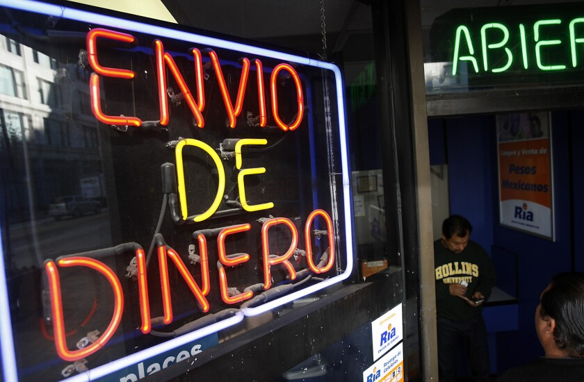 Remittances to most Latin American countries have picked up again after slumping during the Great Recession. But money sent by Mexican immigrants to their homeland this year, an estimated $22 billion, remains 29% off its 2006 peak, the Pew Research Center reports Friday in a study of flows and trends over 13 years.