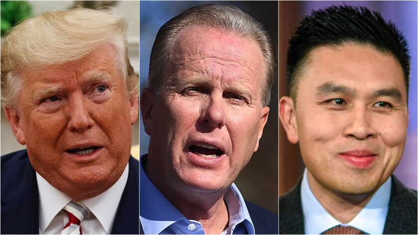 Former President Trump, ex-San Diego Mayor Kevin Faulconer and California controller candidate Lanhee Chen.