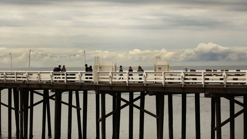MALIBU, CA - MAY 10, 2019 - Pedestrians on the Malibu Pier Friday May 10, 2019 as Southern Californi
