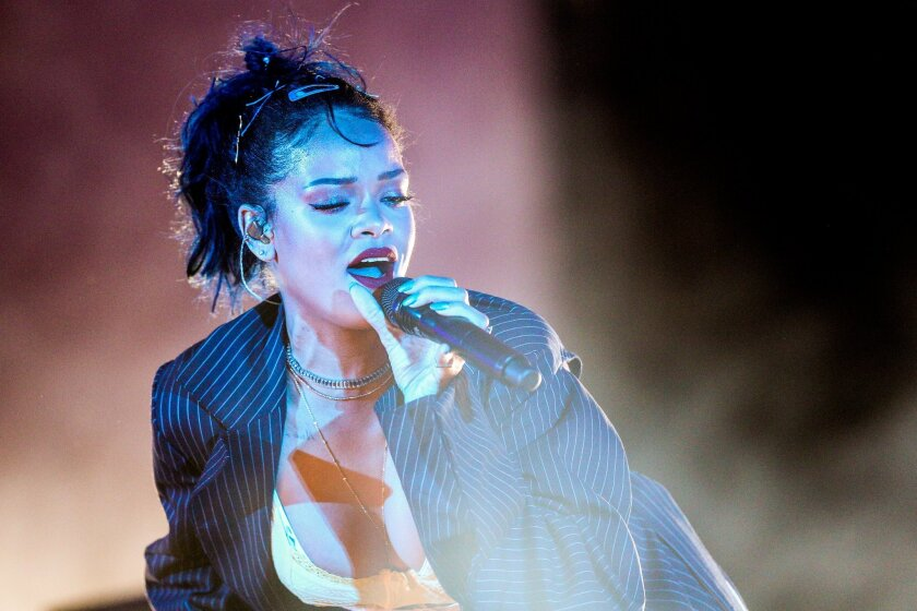 Rihanna performs at the We Can Survive Concert at the Hollywood Bowl on Saturday, Oct. 24, 2015, in Los Angeles.