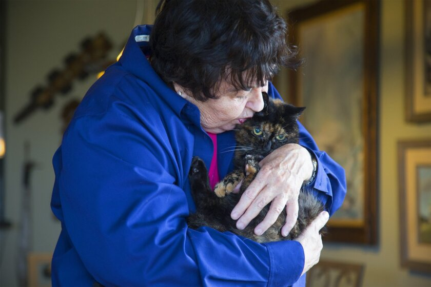 Sharon Voorhees holds Tiffany, what is said to be the oldest living cat.