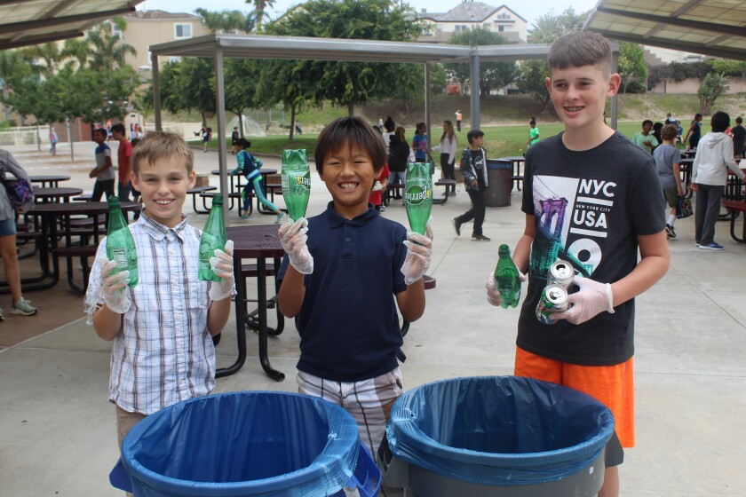 Bryce Snow, Christopher Kam and Dillon Keating raised money for the San Diego Humane Society through recycling bottles and cans.