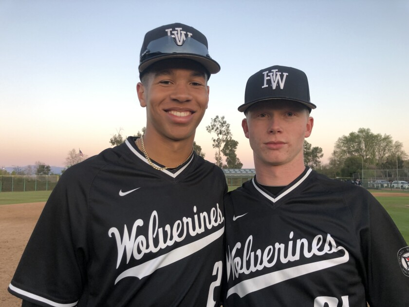 Drew Bowser, left, won the home run derby and MVP honors at the Perfect Game All-American Classic and Harvard-Westlake teammate Pete Crow-Armstrong also played in the game.