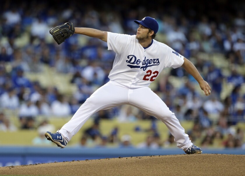 Dodgers' Clayton Kershaw pitches during the first inning against the Washington Nationals Tuesday.