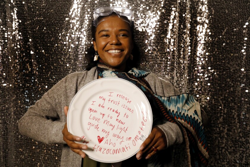 LOS ANGELES, CA JANUARY 12, 2018: Portrait of Mikeyla Sainz, 25, of Pasadena holding the plate she