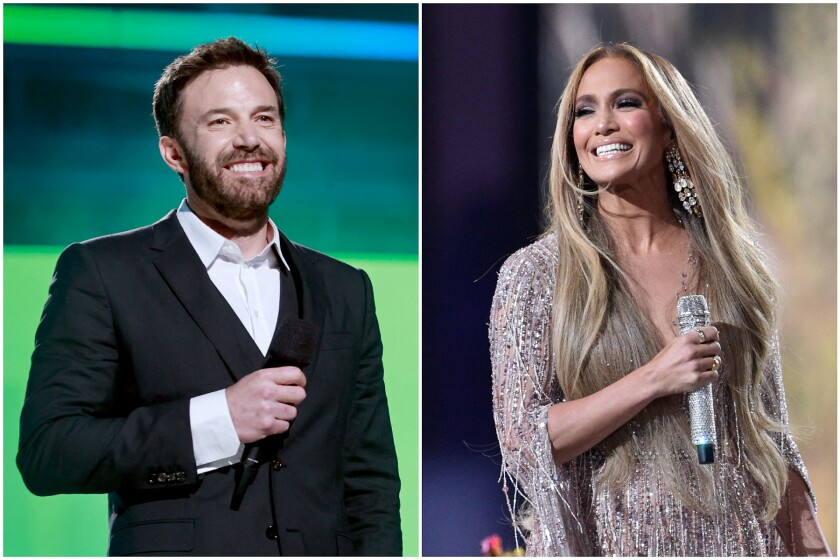 Separate pictures of Ben Affleck and Jennifer Lopez at Vax Live concert
