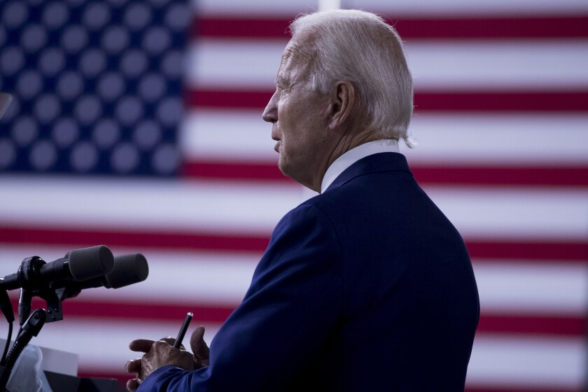 """Democratic presidential candidate former Vice President Joe Biden speaks at a campaign event at the William """"Hicks"""" Anderson Community Center in Wilmington, Del., Tuesday, July 28, 2020.(AP Photo/Andrew Harnik)"""