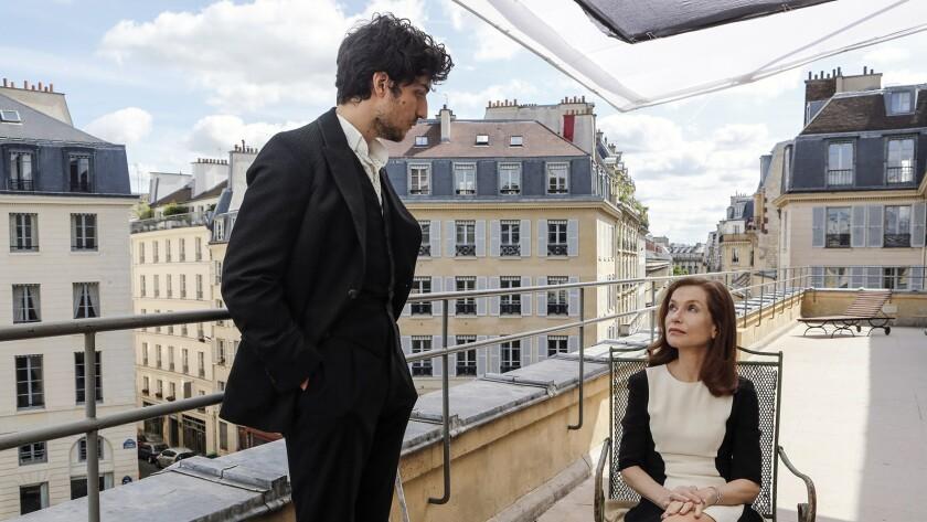 "Louis Garrel as Dorante and Isabelle Huppert as Araminte in the film ""False Confessions."" Credit: Bi"