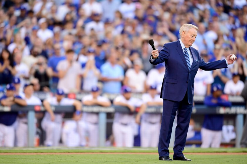 Vin Scully before Game 2 of the 2017 World Series.
