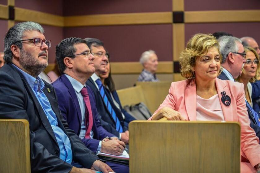 Spanish Senators Jordi Marti (L) and Rosa Vindel (R) attend the first hearing of their countryman Pablo Ibar's fourth trial in Fort Lauderdale, Florida, on 26 November 2018. EFE-EPA/ Giorgio Viera