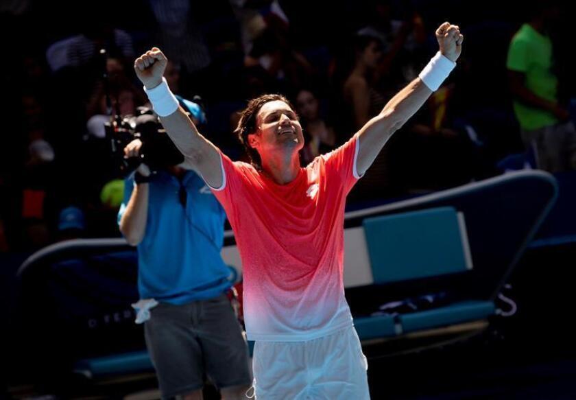 El tenista español David Ferrer celebra su victoria tras el partido entre España y Francia celebrado durante la séptima jornada de la Copa Hopman en Perth (Australia) hoy, 4 de enero de 2019. EFE