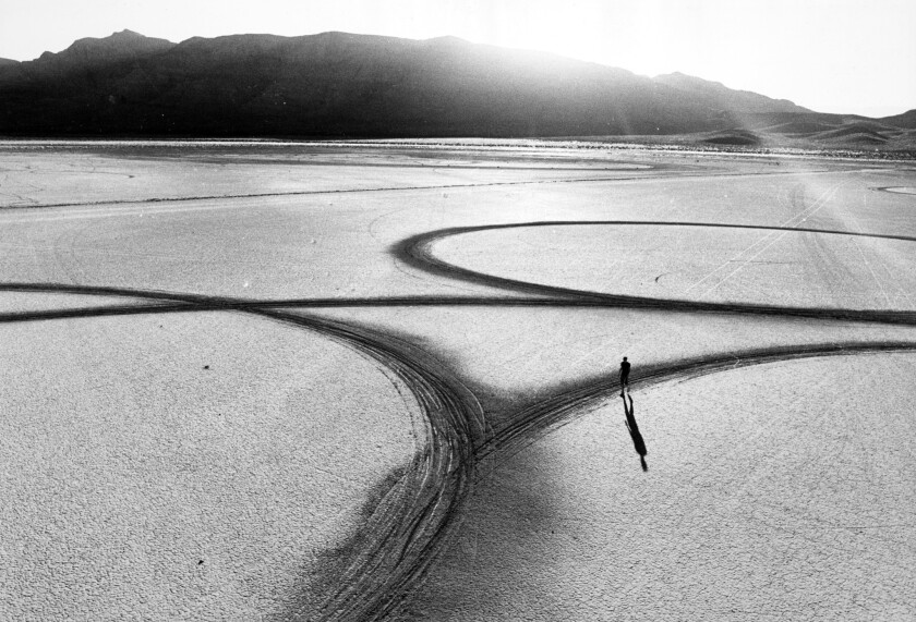 "Michael Heizer's Circular Surface, Planar Displacement Drawing. El Mirage Dry Lake, 1969. From the documentary ""Troublemakers: The Story of Land Art."""