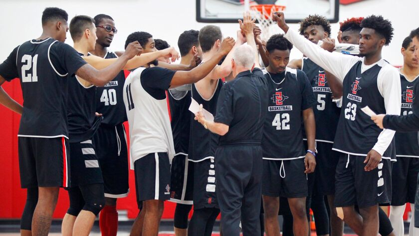 Coach Steve Fisher and the Aztecs open the season Nov. 11 by hosting USD.