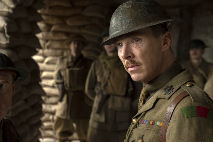 """This image released by Universal Pictures shows Benedict Cumberbatch as Colonel Mackenzie in a scene from """"1917,"""" directed by Sam Mendes. (François Duhamel/Universal Pictures via AP)"""