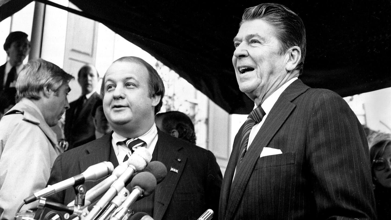 President-elect Ronald Reagan, right, introduces James Brady as his press secretary in Washington, D.C., on Jan. 6, 1981.