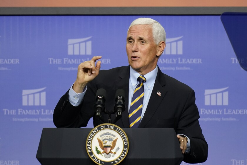 Vice President Mike Pence speaks at an event hosted by the Family Leader Foundation on Thursday in Des Moines.