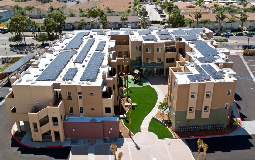 Solar panels cover the roof at the Los Vecinos housing complex in Chula Vista. COURTESY PHOTO