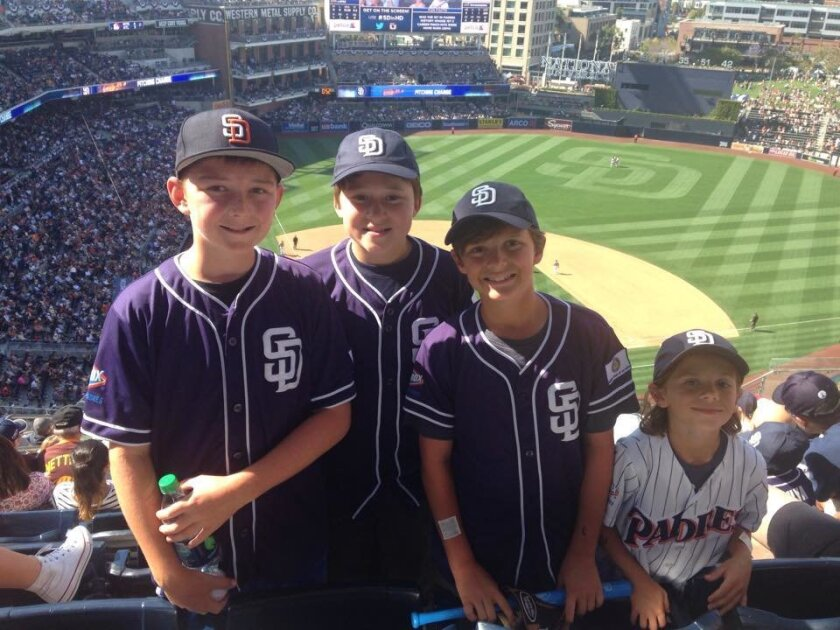 Pony Day at PETCO Park was a hit for La Jolla Youth Baseball's Bronco players Devin Bale, Devin Longenecker, and Jake Lockey from Rotary Club, with his brother Brooks Lockey in Pinto.