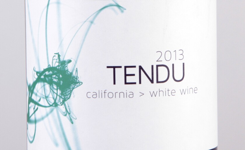 The big 1 liter bottle closed with a white cap like a soda pop. A terrific little white wine from one of California's most interesting winemakers. With its notes of grapefruit and citrus rind, Tendu white wine is a lot of wine for the money. About $20.