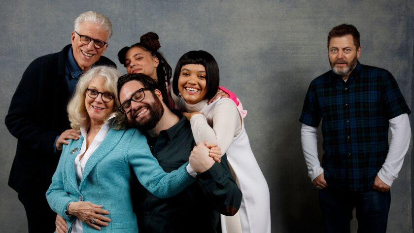 """Blythe Danner, Ted Danson, Sasha Lane, Brett Haley, Kiersey Clemons and Nick Offerman from the film """"Hearts Beat Loud"""" photographed in the L.A. Times Studio at Chase Sapphire on Main during this year's Sundance Film Festival."""