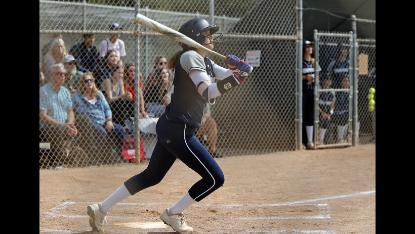 Newport Harbor High's Eliana Gottlieb hits a two-run homer against Ocean View during the first inning in the first round of the CIF Southern Section Division 5 playoffs at home on Thursday.