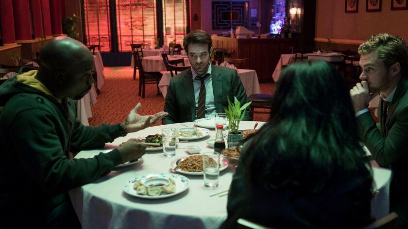 Luke Cage (Mike Colter), Daredevil (Charlie Cox), Iron Fist (Finn Jones), and Jessica Jones (Krysten