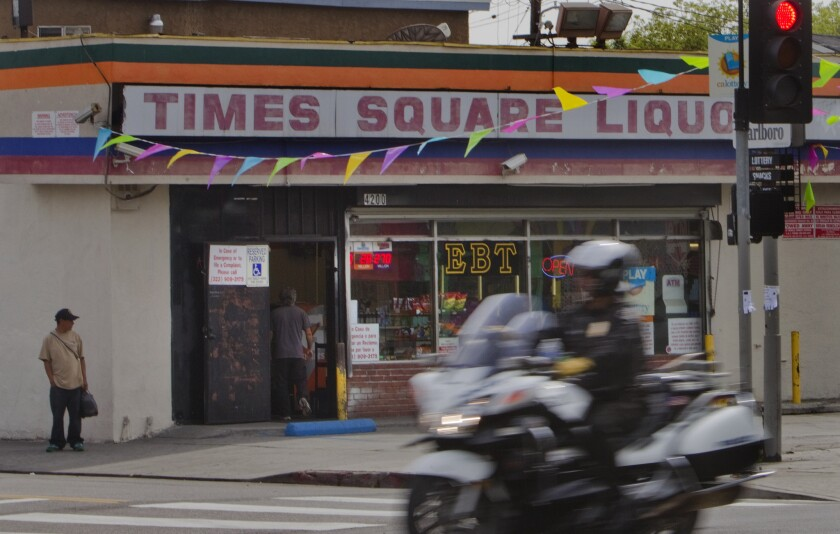 Times Square Liquor in South L.A. is one of many liquor stores being targeted by the Los Angeles Police Department for illegal activity, including selling liquor to minors. Its liquor license has been revoked.