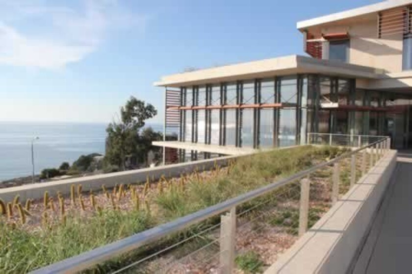 The new SWFSC complex features similarly breathtaking ocean views as its former site across La Jolla Scenic Drive North. The new complex includes energy-saving photovoltaic cells, recycled materials and green roofs planted with California coastal chaparral.