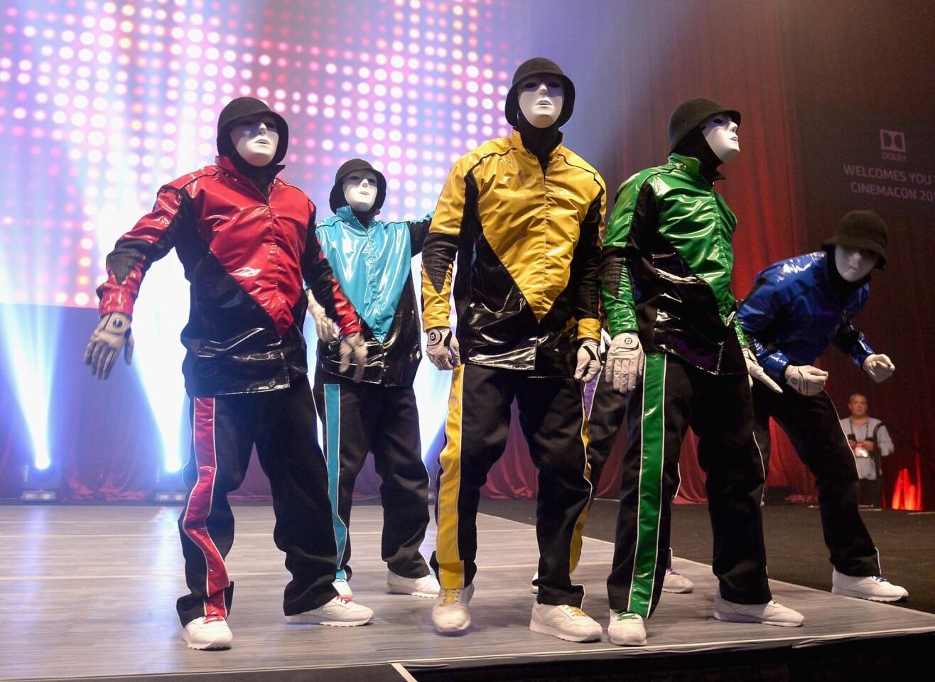 Hip-hop dance crew Jabbawockeez performs at CinemaCon.