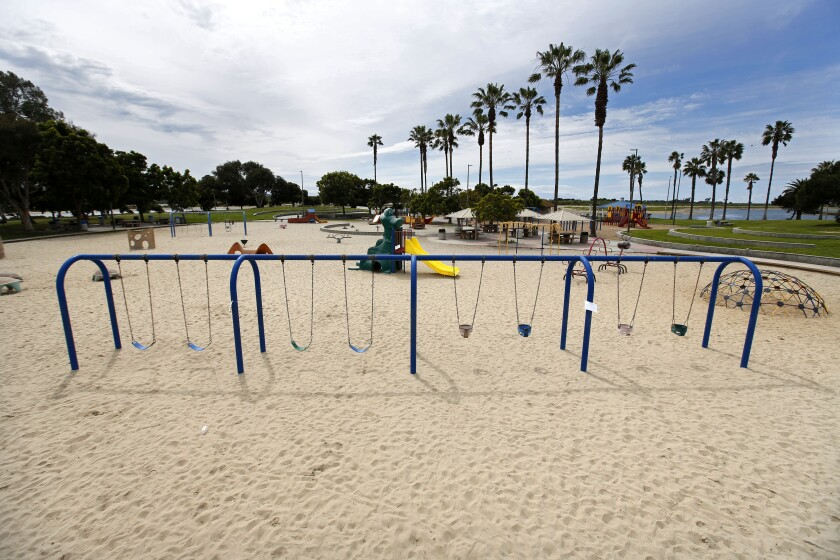The Mission Bay playground sits empty in March.