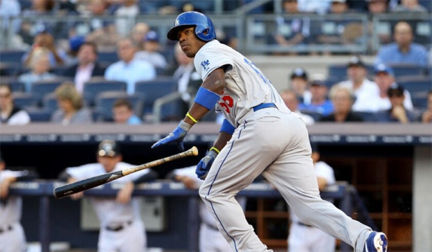 Yasiel Puig went two for four with a home run for the Dodgers in L.A.'s 6-0 victory over the New York Yankees in the second game of a doubleheader on Wednesday.