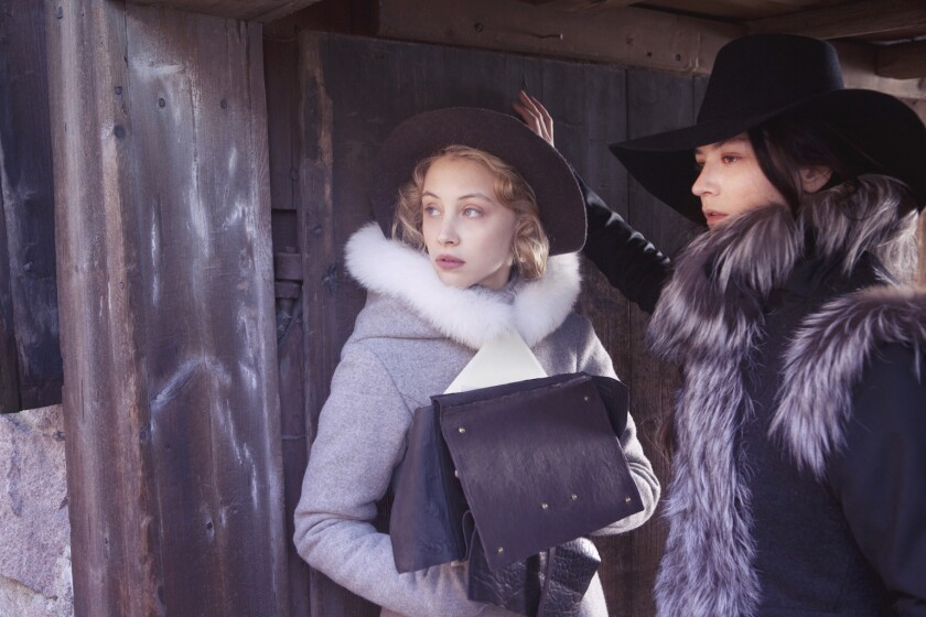 "Sarah Gadon as Countess Ebba Sparre and Malin Buska as Queen Kristina in ""The Girl King."""