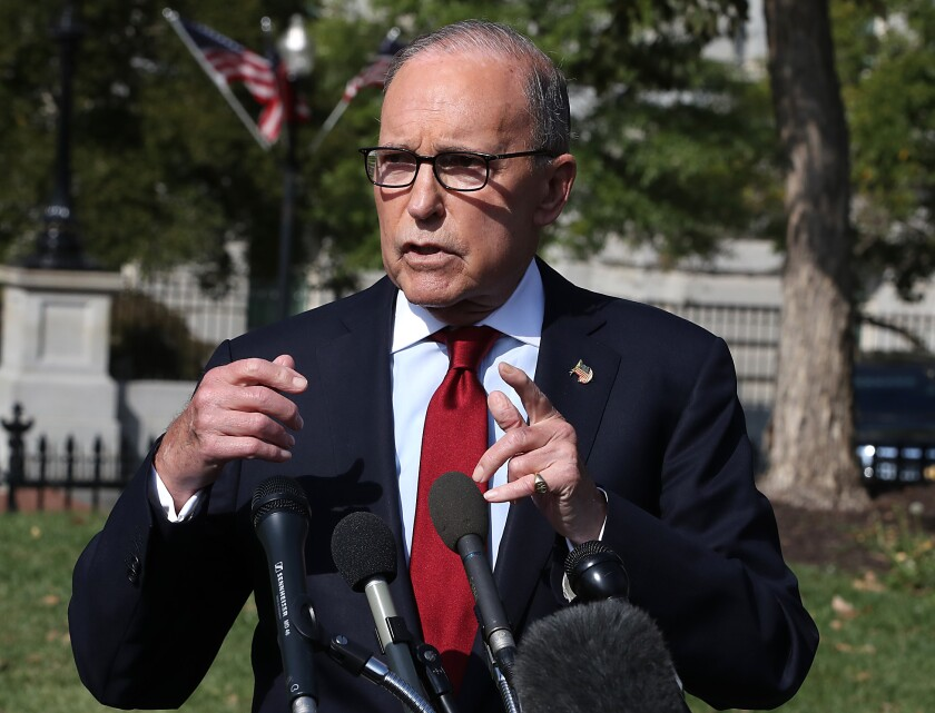 Larry Kudlow at a news conference about President Trump's trade agenda in October 2019.