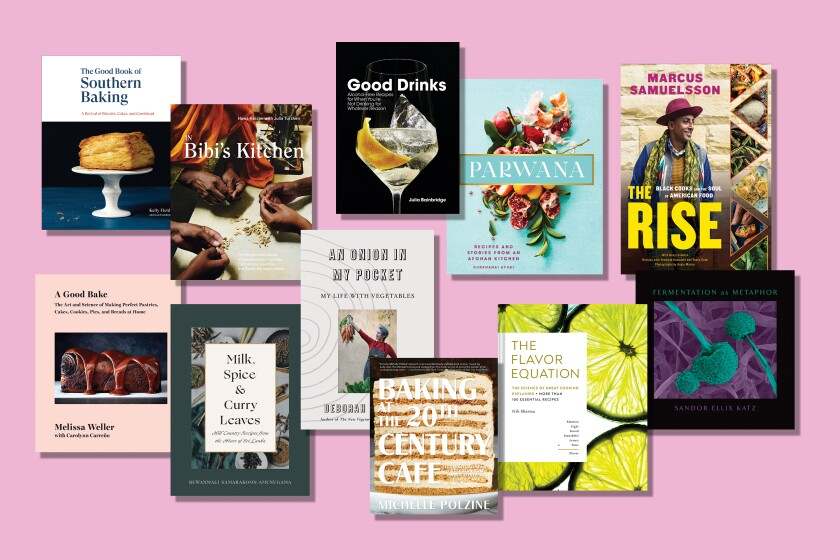 photo illustration of 11 cookbooks