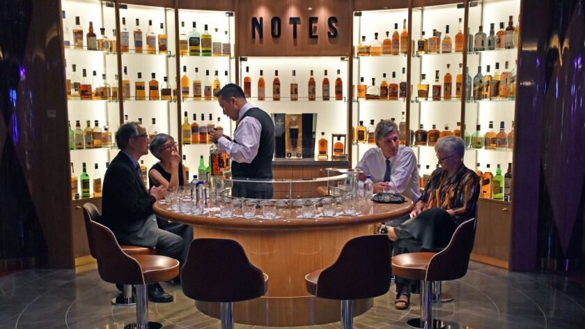 This tasting bar offered samples of myriad whiskeys.
