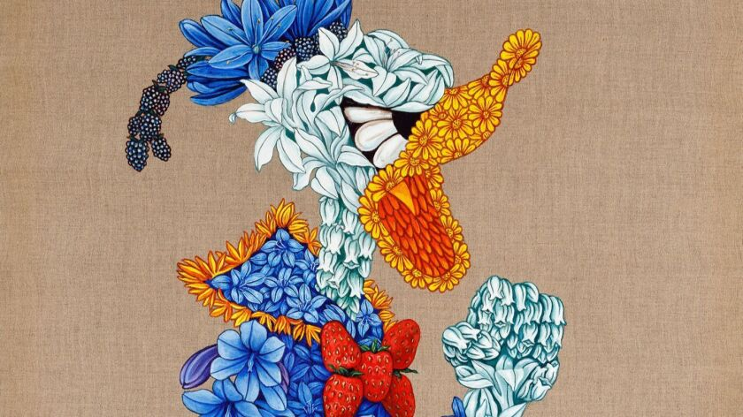 "A detail from ""California Flora,"" a canvas by Sergio Allevato in ""How to Read El Pato Pascual."""