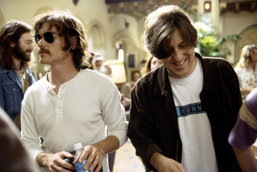 "Billy Crudup as Russell Hammond with writer-director Cameron Crowe on the set of the ""Almost Famous"" film."