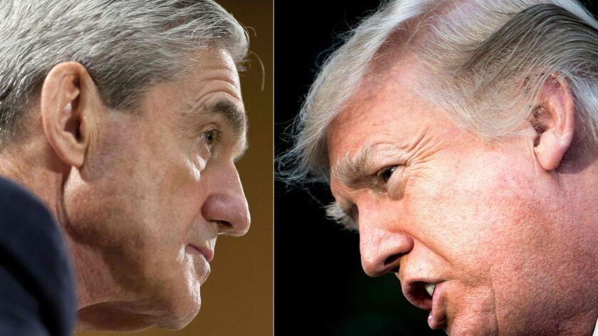 Robert Mueller (L) and President Donald Trump (R).