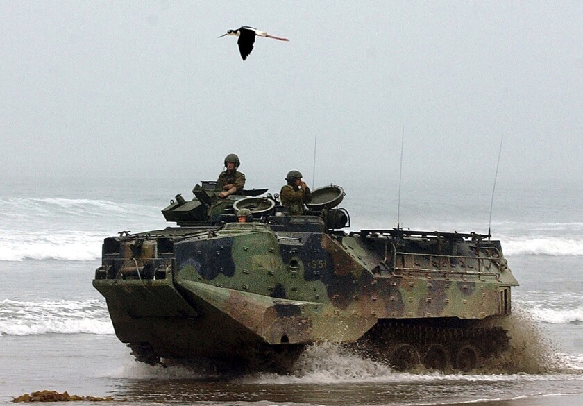 FILE - In this July, 2, 2003., file photo, a U.S. Marine Corps amphibious assault vehicle drives past a marked endangered species area as a black-necked Stilt, flies overhead at Red Beach on Camp Pendleton Marine Corps Base, Calif. Marines are training in seafaring tanks for the first time since nine men died when when one of the troop carriers sank off the Southern California coast during an exercise on July 30, 2020. The Orange County Register reports Marines from Camp Pendleton resumed exercises in water recovery and troop transfers, without troops in early April 2021. The Marine Corps has said that last year's accident was caused by inadequate training, shabby maintenance and poor judgment by commanders. (AP Photo/Denis Poroy, File)
