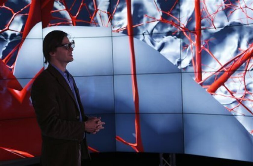 In this photo made Thursday, Jan. 24, 2013, in Chicago, Andreas Linninger, University of Illinois-Chicago professor of bioengineering, chemical engineering and computer science, left, views the brain inside CAVE2. Linninger heads a study that would compare CAVE2 to conventional methods of detectin