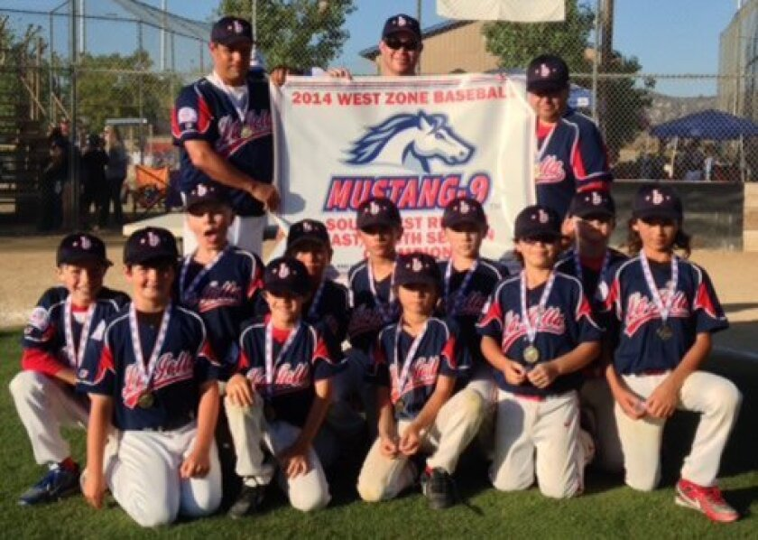 La Jolla Youth Baseball's Mustang 9s team with Manager Mike Campagna (top left) are Section Champions. (Courtesy Photo)
