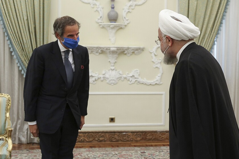 Iranian President Hassan Rouhani meets with Rafael Mariano Grossi of the International Atomic Energy Agency.