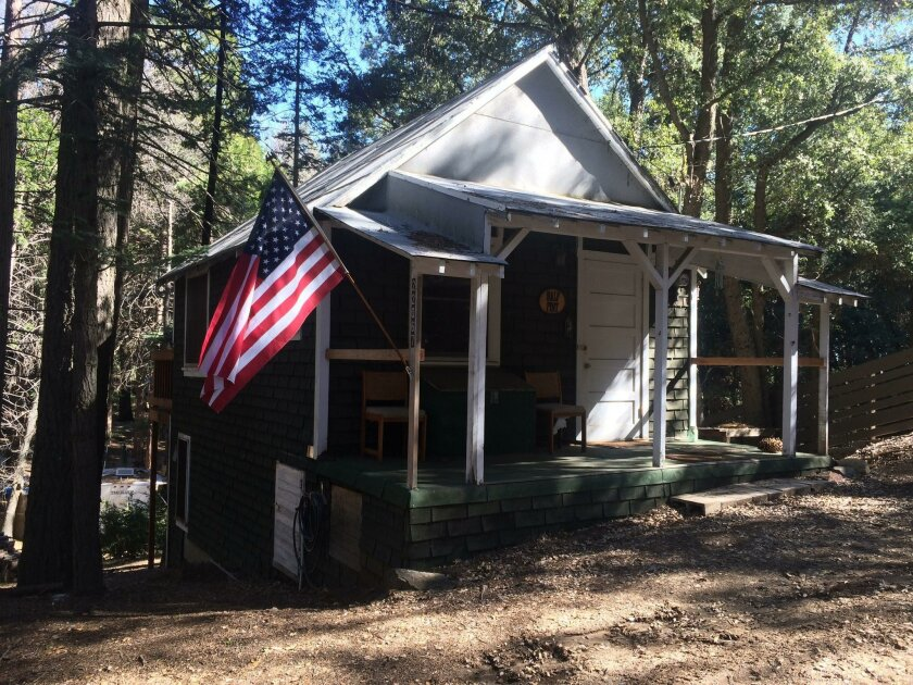 The cabin at 22067 Crestline Rd in Palomar Mountain. The 492-square-foot home was built in 1948 and sold for $55,000 in 2015. The median home price in San Diego County was $462,750 in January.
