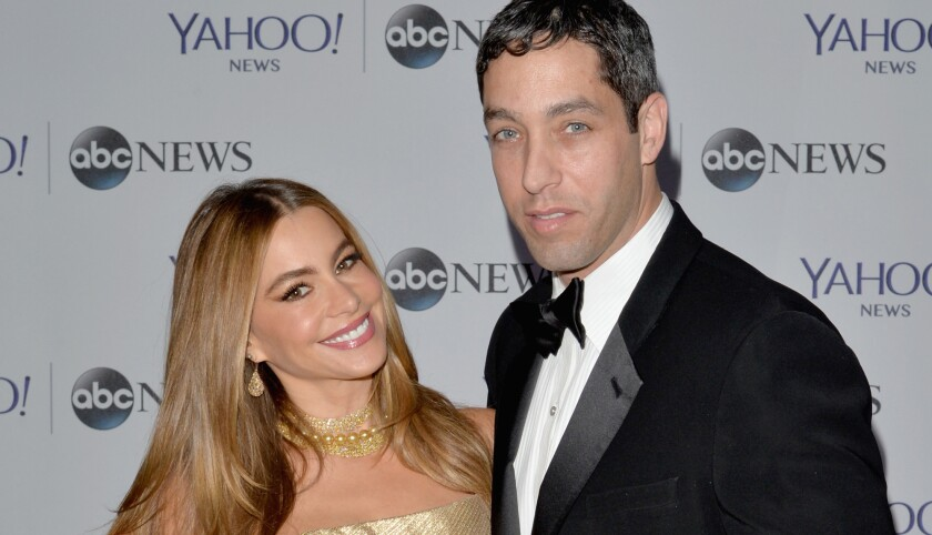 Sofia Vergara and Nick Loeb, shown at at a pre-party before the 2014 White House Correspondents' dinner, have broken up, the actress announced.