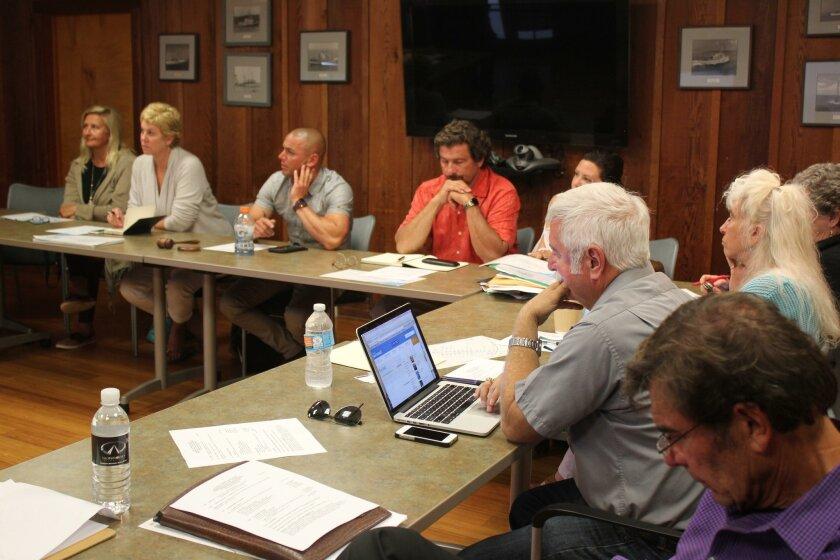 La Jolla Shores Association members Izzy Tihanyi, Angie Preisendorfer, board chair Nick LeBeouf, treasurer Jenny Feinberg, Dave Gordon, Terry Kreszewski and John Sheridan at the May 11 meeting