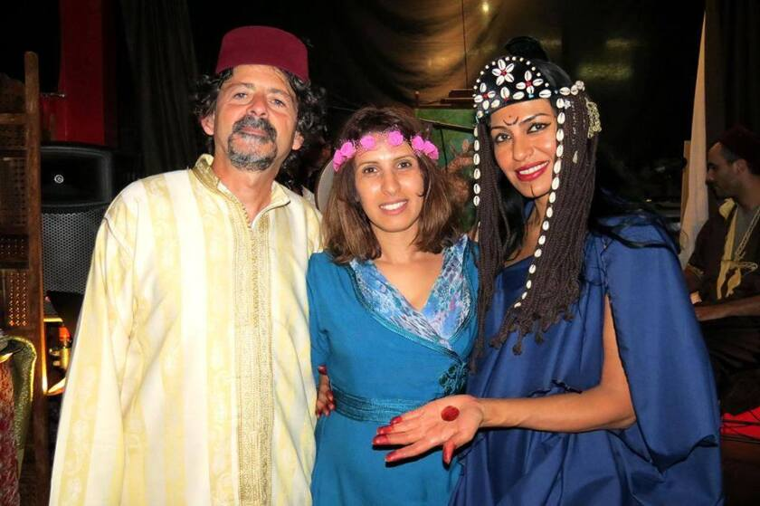 Jordan Elgrably, left, a co-founder of the Markaz, pictured at a Moroccan culture night with guest Bouchra Azizy and dancer Rosa Rojas, at the Markaz in 2015.