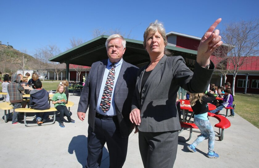 San Pasqual Union School District Superintendent-Principal Gary Wilson, who retires this week, welcomed his replacement, Shannon Hargrave, for a visit to campus Friday.